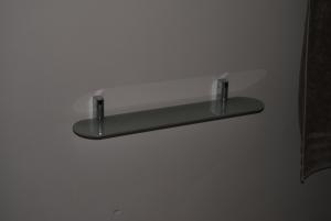 New sand-blasted glass shelf - again open ended