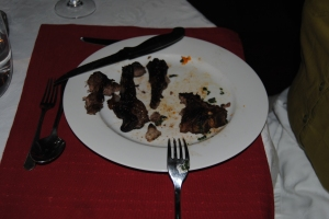 All that was left of the lamb dish from the 3-course home cooked dinner at Cavers Guest House, Bedford, Eastern Cape, SA
