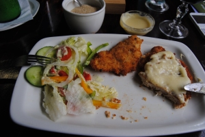 One of the best chicken schnitzels I have had for lunch at Beaver Creek Coffee farm, Port Edward, Kwa-Zulu Natal, SA